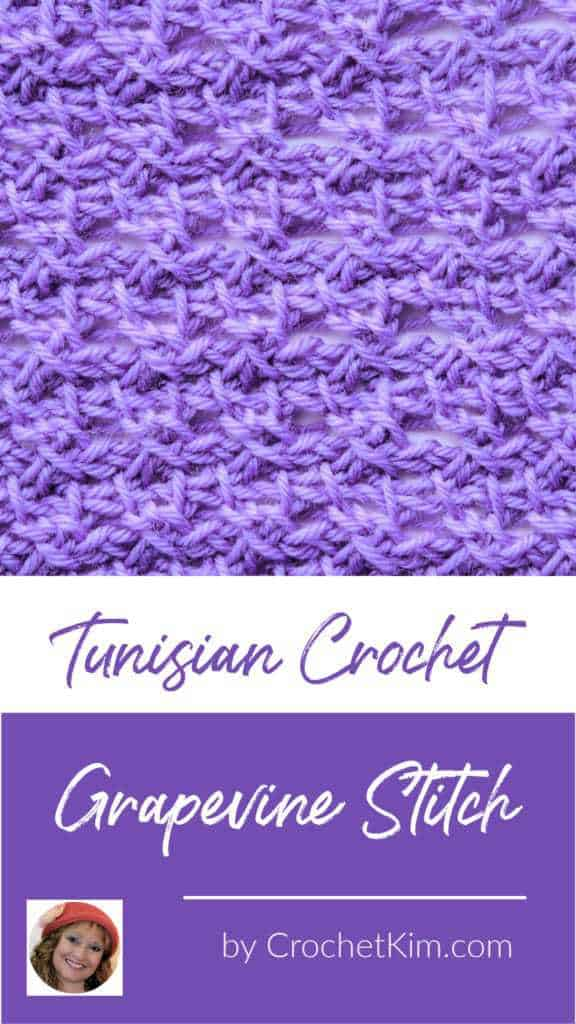 Tunisian Grapevine Stitch CrochetKim Crochet Stitch Tutorial