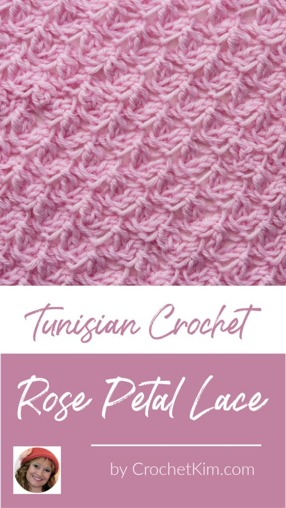 Tunisian Rose Petal Lace CrochetKim Crochet Stitch Tutorial