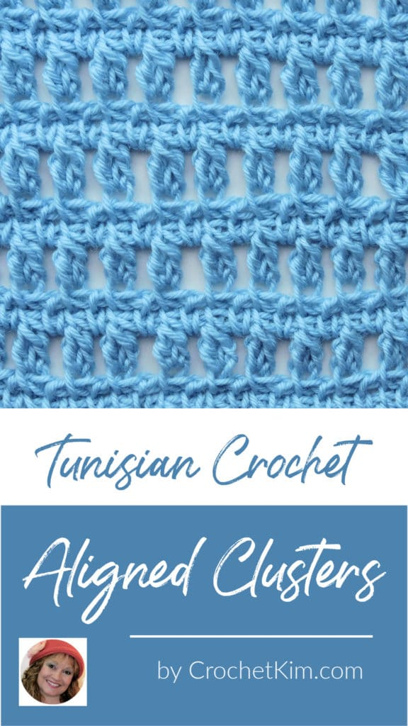 Tunisian Aligned Clusters CrochetKim Crochet Stitch Tutorial