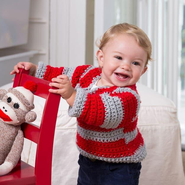 Easy Go Team Go! Baby Sweater Free Crochet Pattern