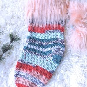 Vintage Christmas Stocking with Faux Fur Pompoms and Cuff Free Crochet Pattern